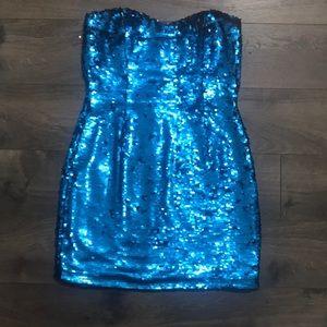 Blue sequin homecoming dress size medium